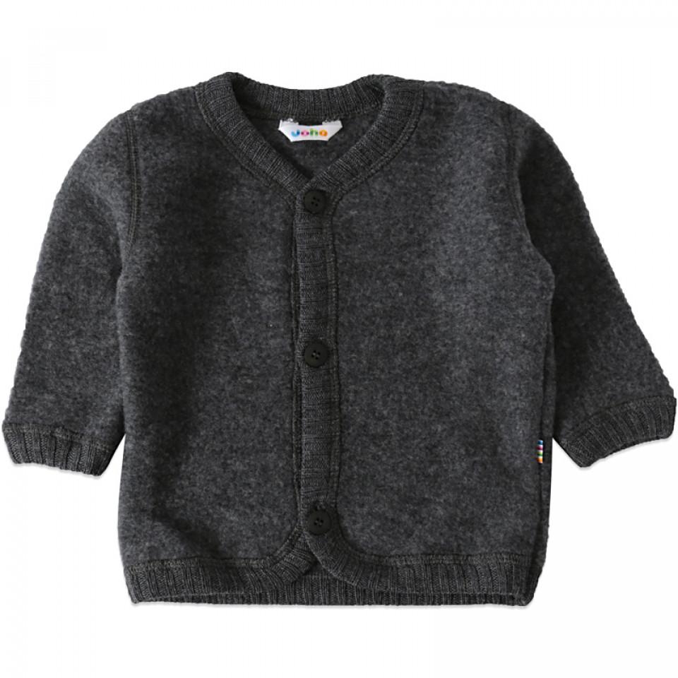 Grå uld fleece cardigan