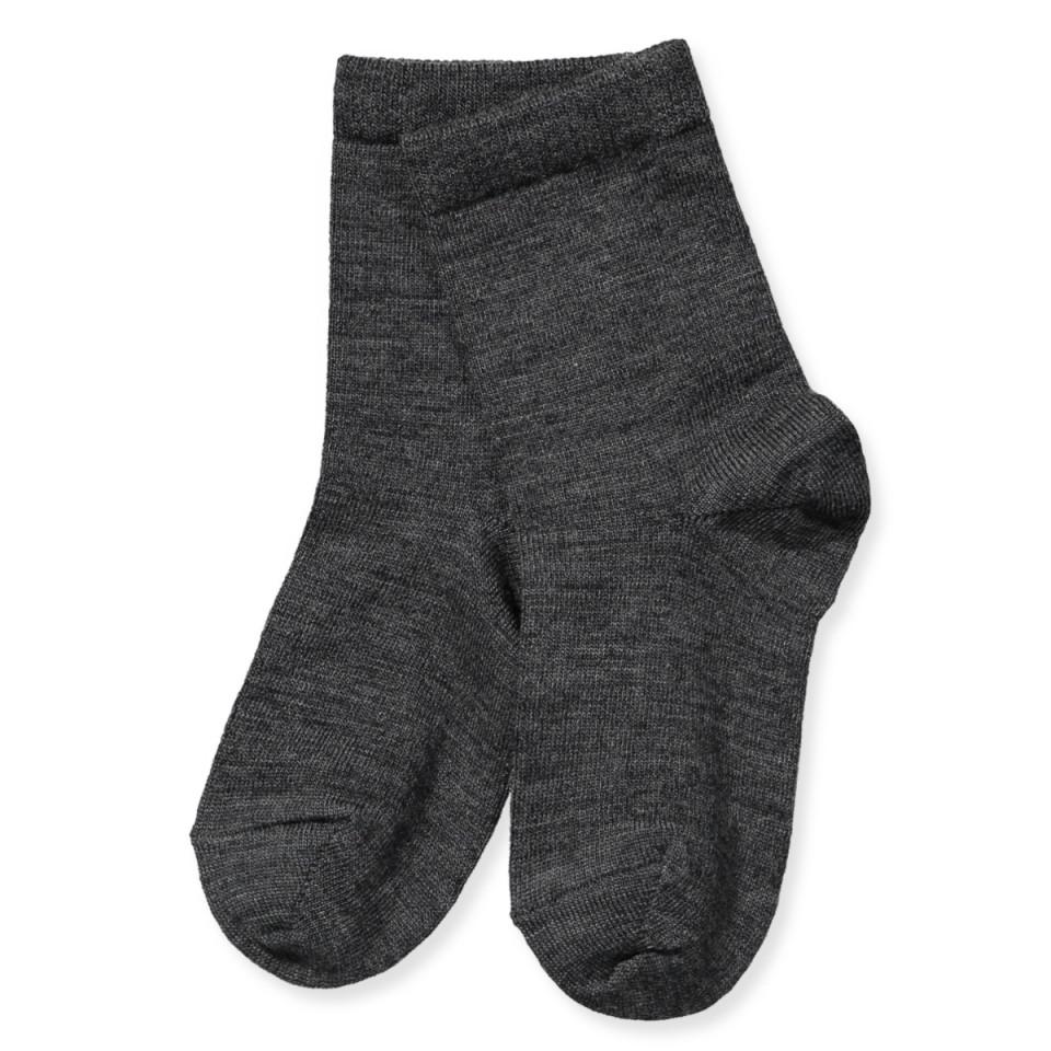 Mørkegrå uld/bomuld strømper