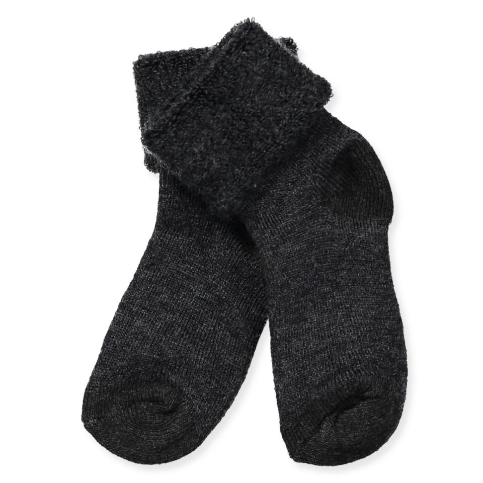 Mørkegrå uld baby strømper