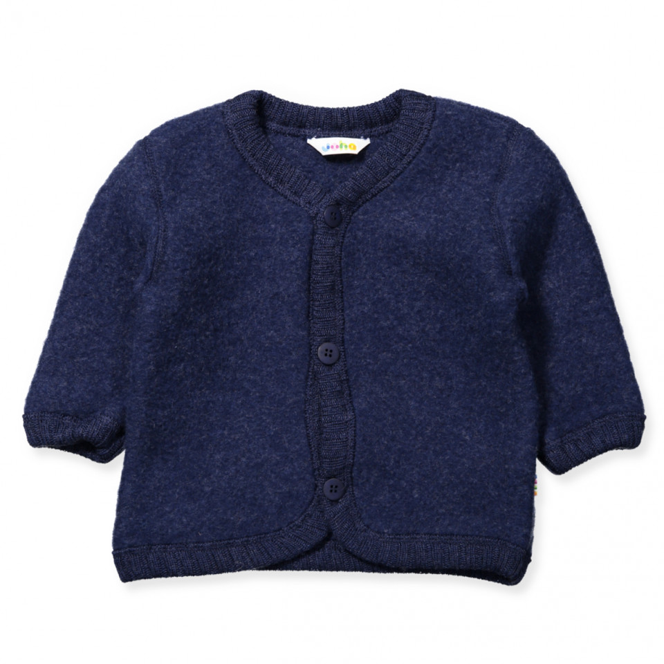 Blå uld fleece cardigan