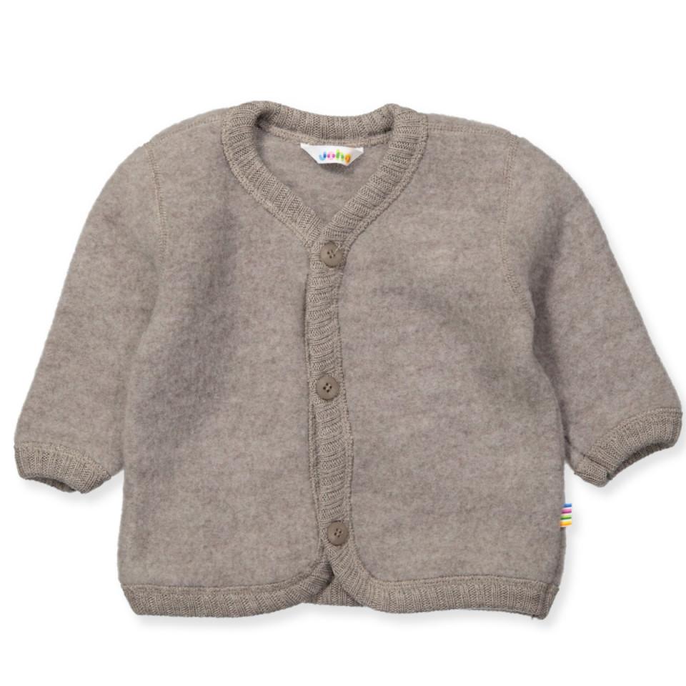 Beige uld fleece cardigan