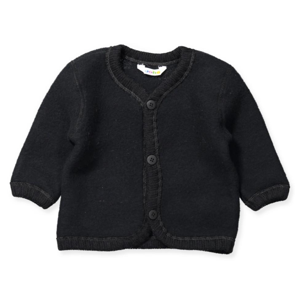 Sort uld fleece cardigan