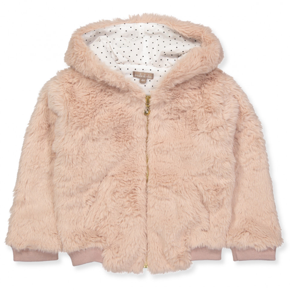 Rosa faux fur jakke