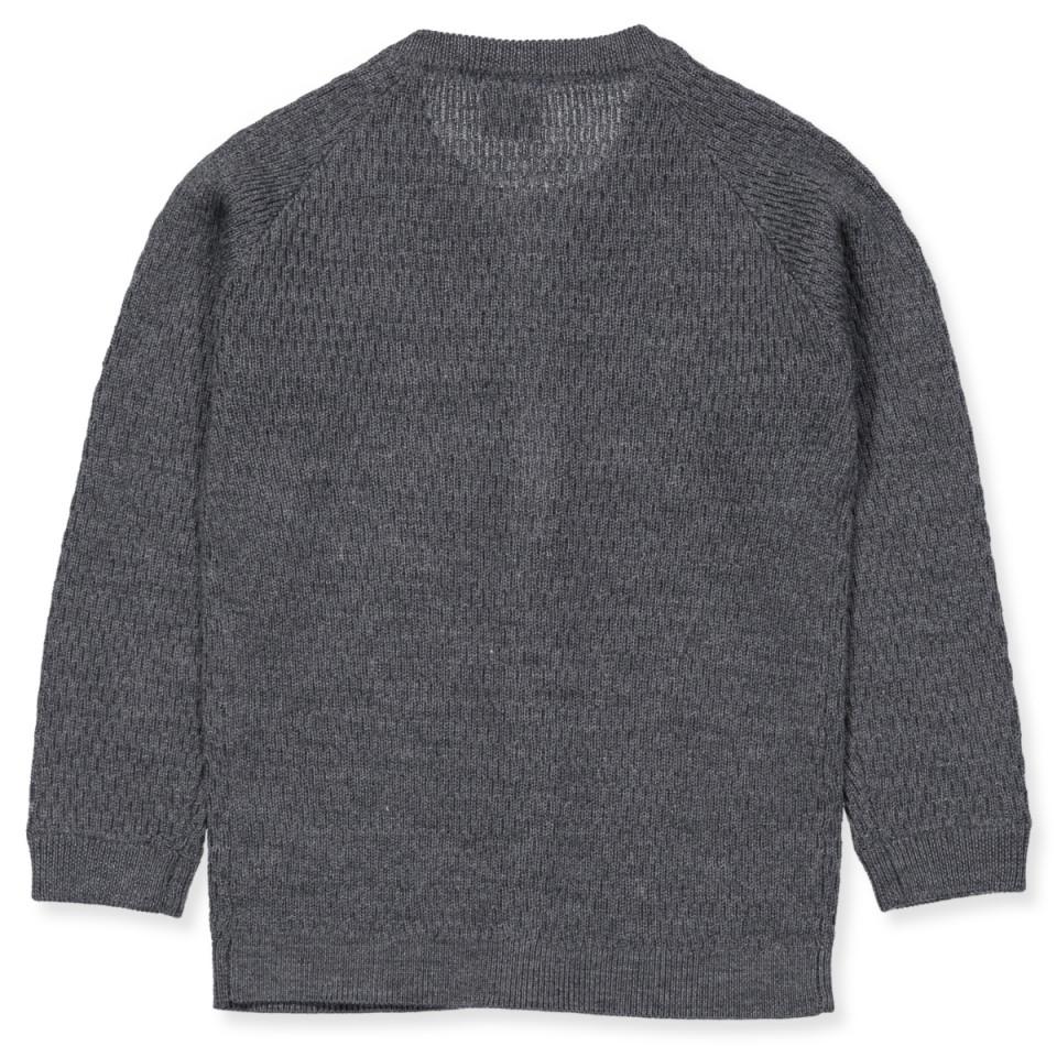 Grå strik cardigan i merino uld