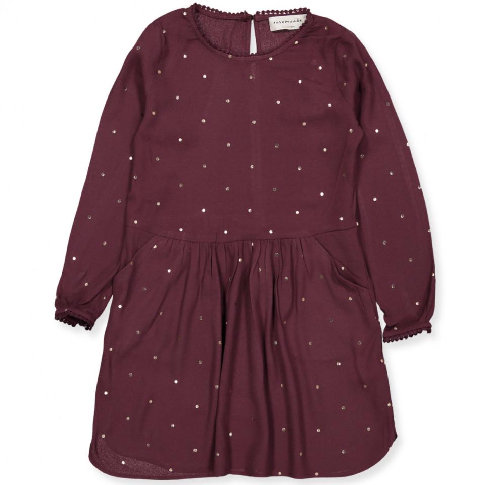 f833a2af1f4 Rosemunde - Bordeaux kjole - Bourgogne golden dot