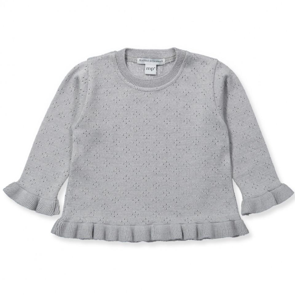 Grå uld/bomuld striktrøje