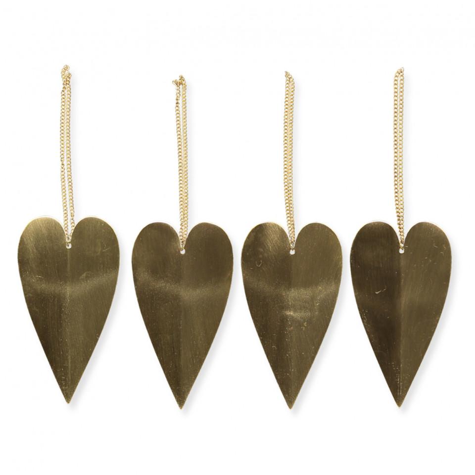 4 pak hjerte ornameter