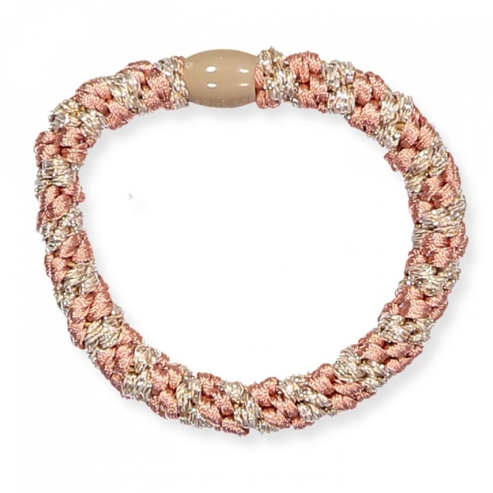 Kknekki glimmer hårelastik - Peach coral