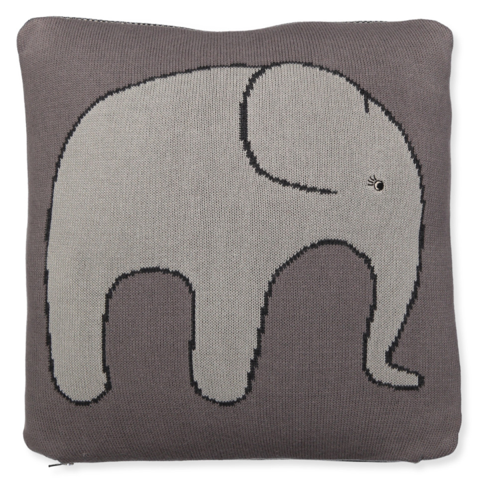 Grå pude med elefant