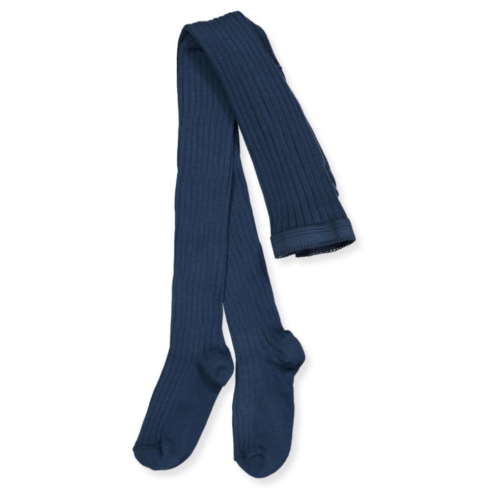 Blå rib strømpebukser