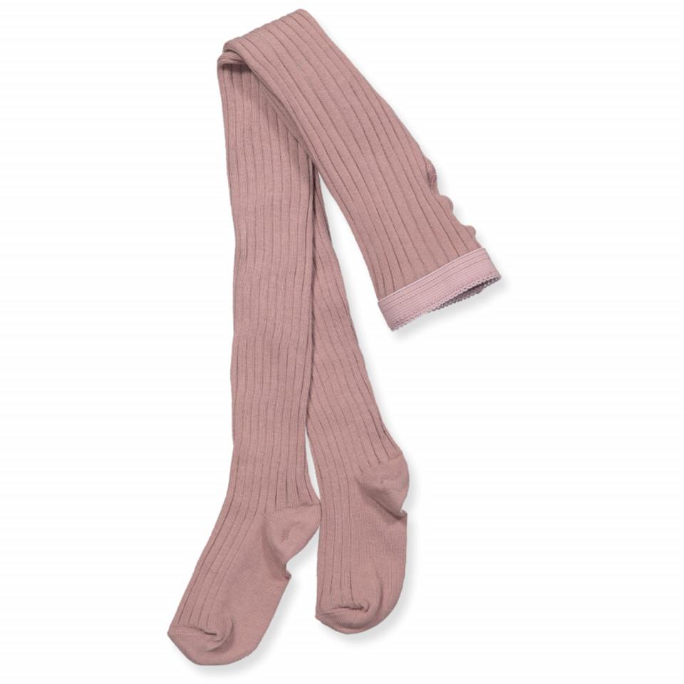 Rosa rib strømpebukser