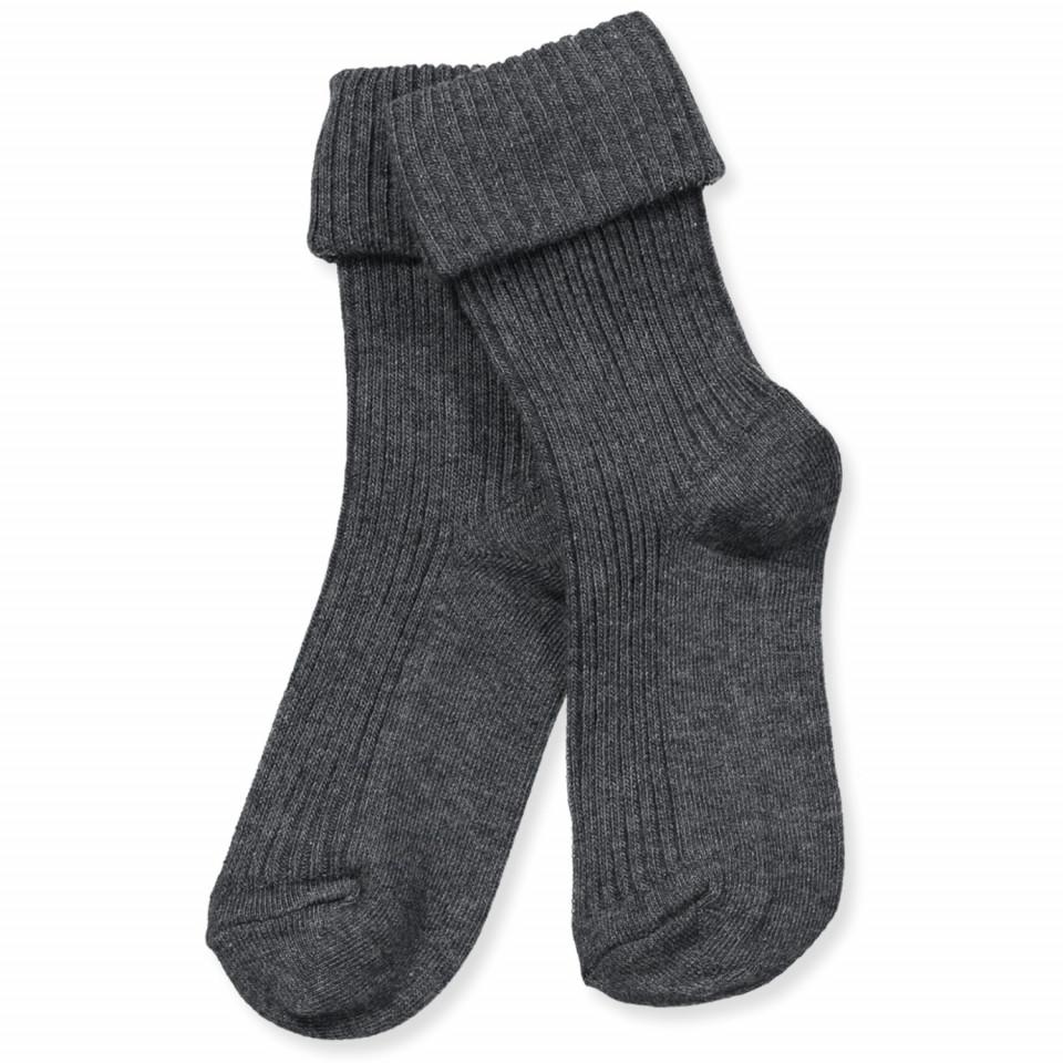 Mørkegrå baby strømper