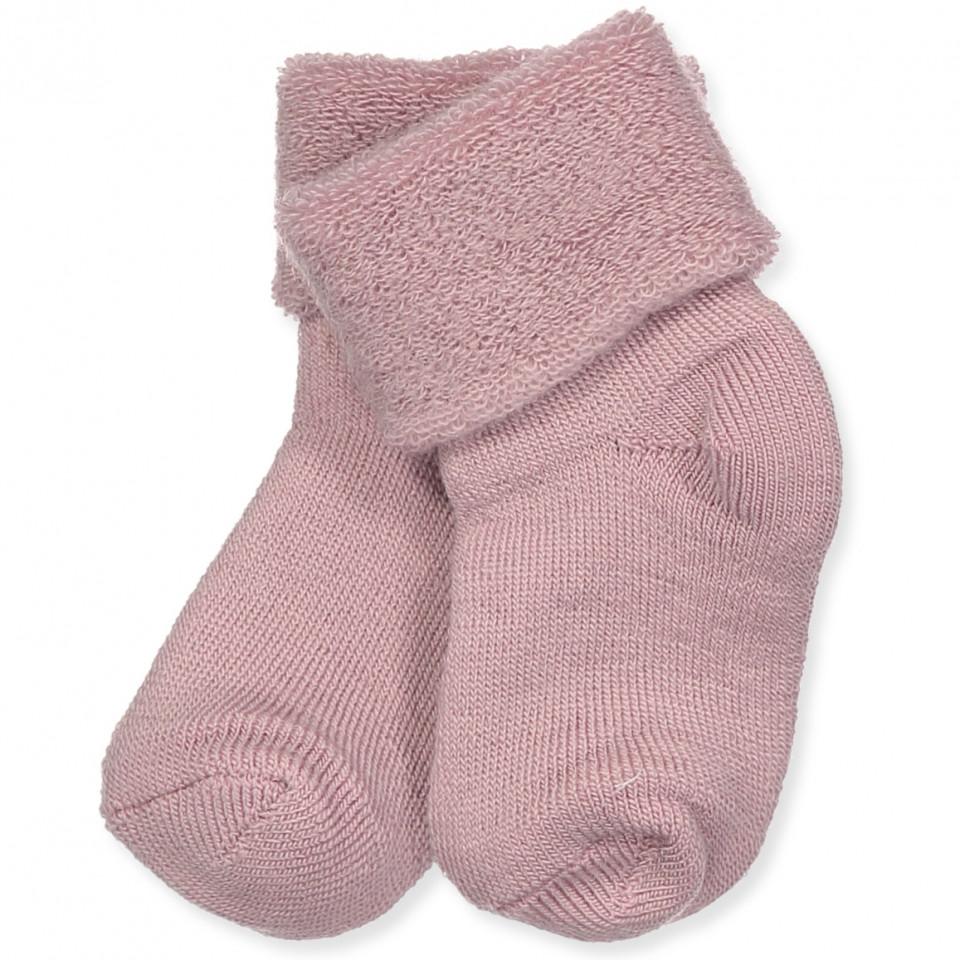 Rosa baby uld strømper