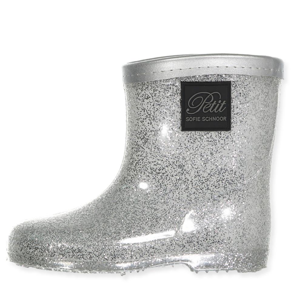 Sølv glimmer gummistøvler