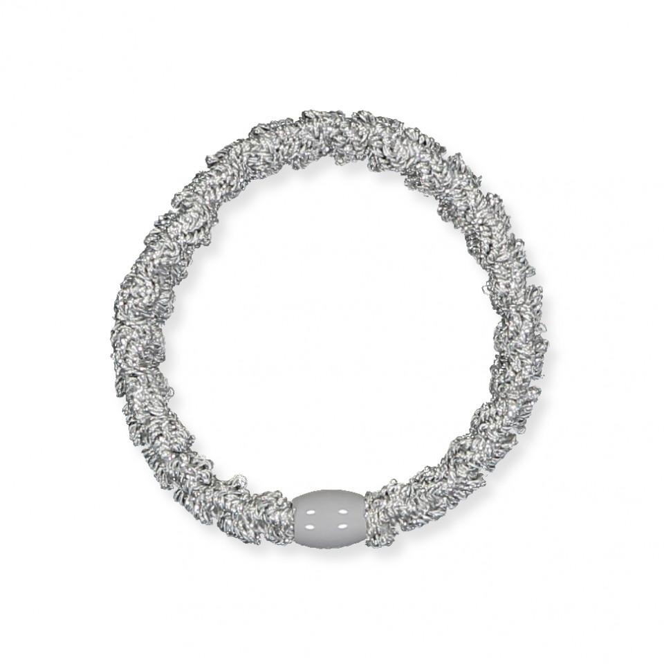 Kknekki Lace hårelastik - sølv glimmer