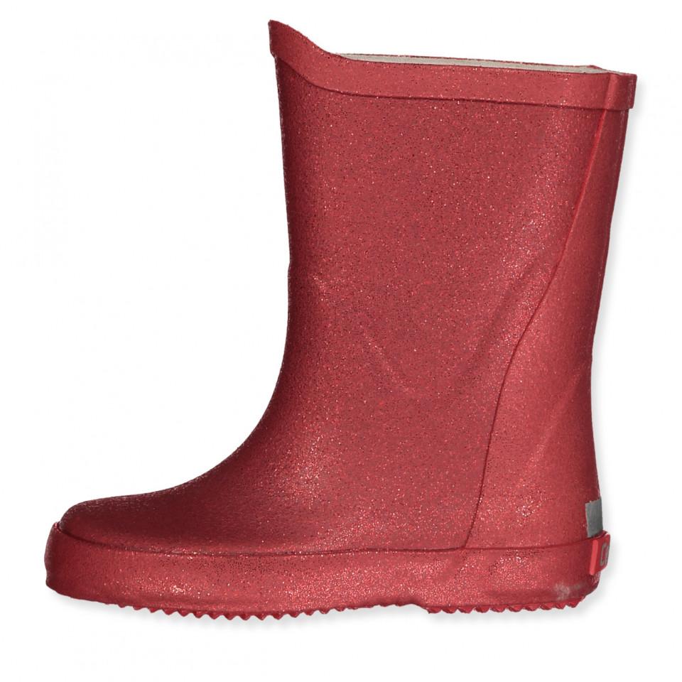 Røde glimmer gummistøvler