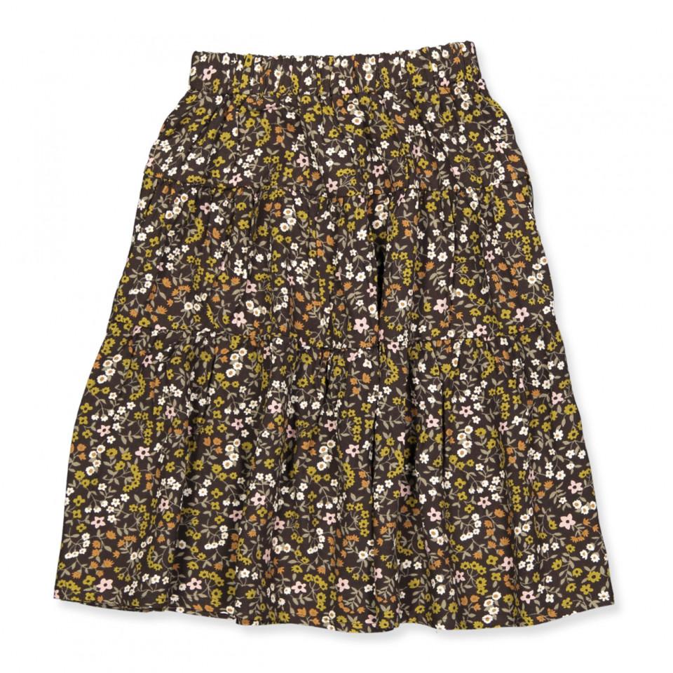 Dark floral nederdel