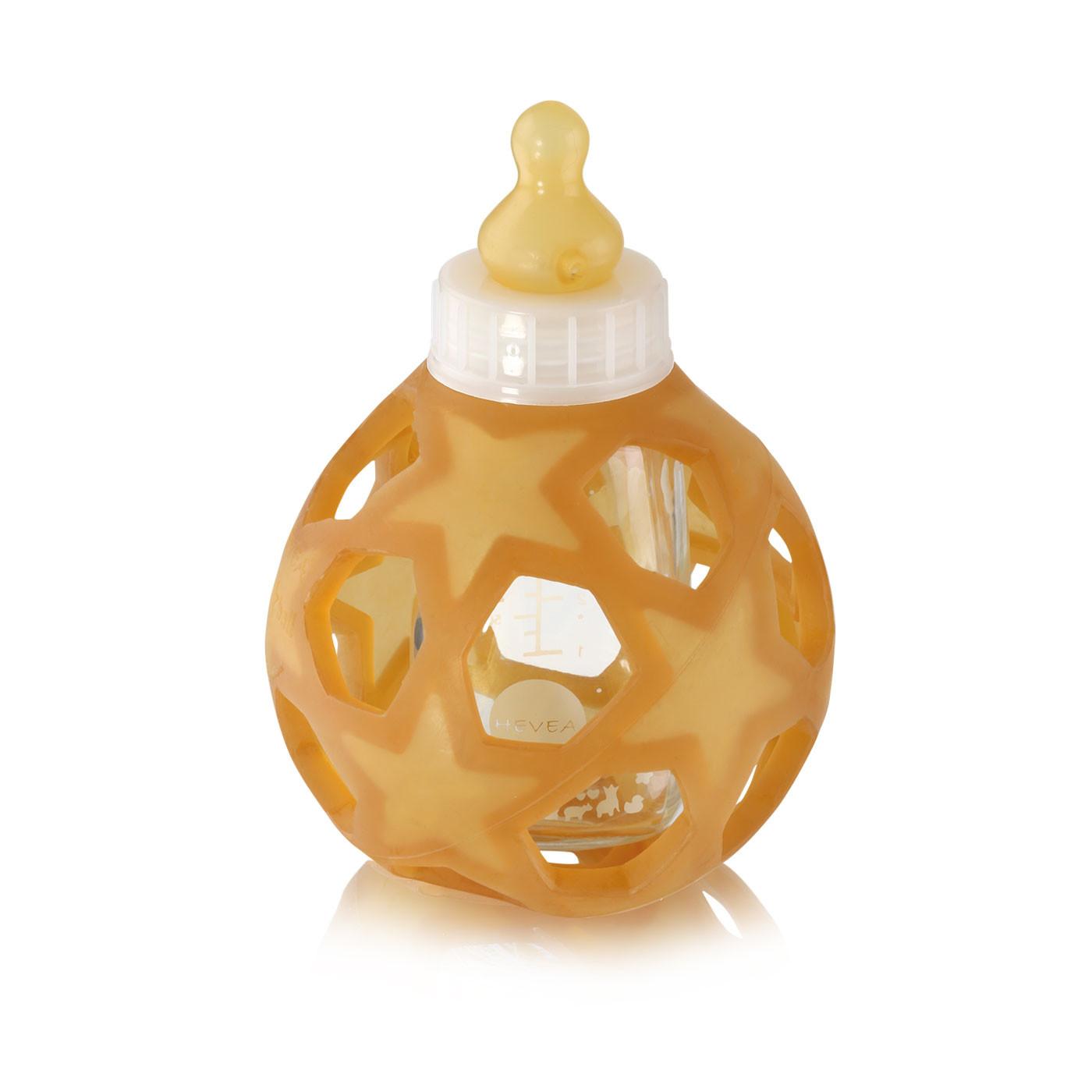 Hvid glas sutteflaske -med stjernebold