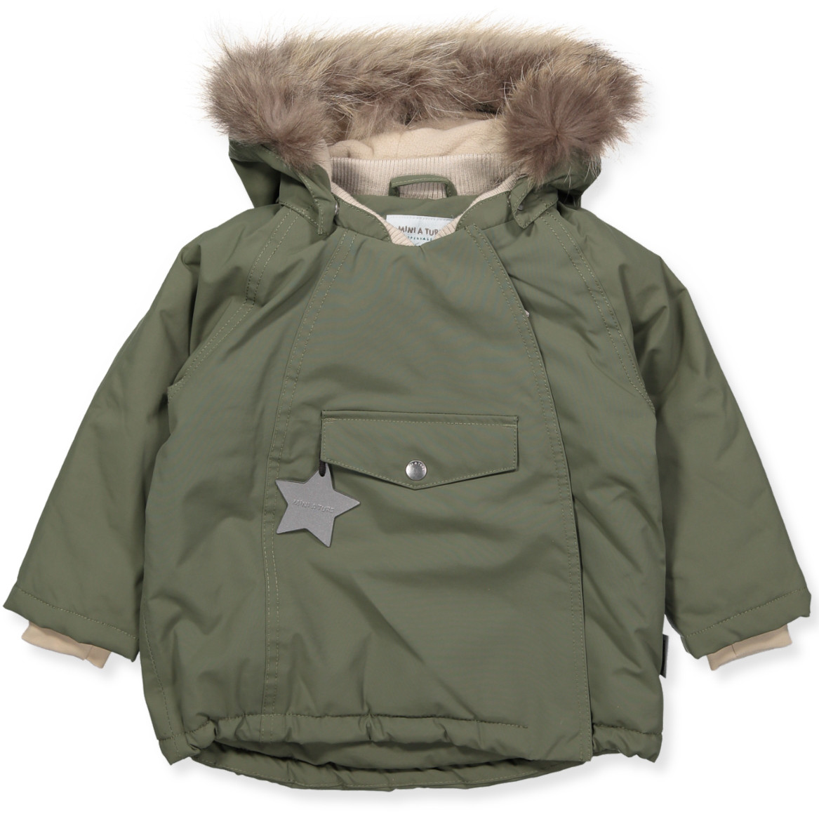 e6b53296 Mini A Ture - Wang vinterjakke med pels - Clover Green