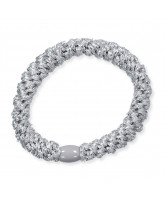 Kknekki glimmer hårelastik - sølv