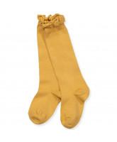 Mustard knæstrømper med blonde