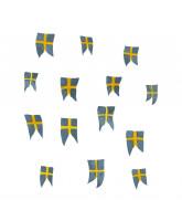 Vægdekoration - Svenske flag 14 stk