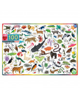 Puslespil 100 brikker - Dyr i verden