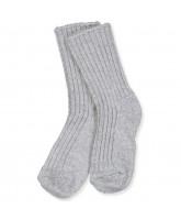 Grey melange uld strømper