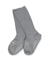 Grå non-slip uld strømper
