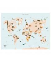 World map Animal plakat - 30x40 cm